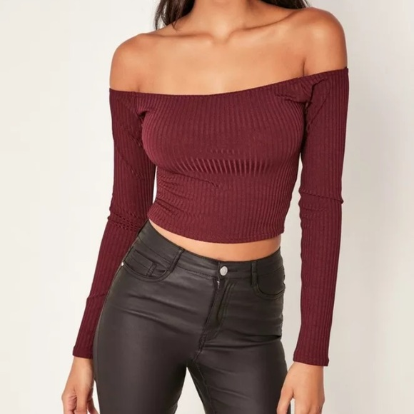 bd80a178bdfd06 Missguided Tops | Womens Burgundy Ribbed Bardot Crop Top | Poshmark